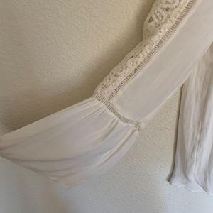 LOFT Tops - Loft cream lace crocket yoke blouse